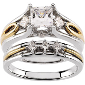 14KT TWO TONE PRINCESS CUT DIAMOND ENGAGMENT RING & WEDDING SET
