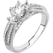 14KTW PRINCESS CUT DIAMOND ENGAGEMENT RING & WEDDING BAND