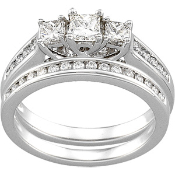 14KT ENGAGEMENT RING 7/8CTW & MATCHING BAND 1/5CTW