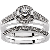 14KW DIAMOND ENGAGEMENT RING 3/4CTW & MATCHING BAND 1/6CTW