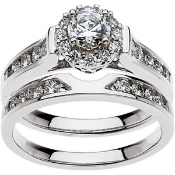 14KW 1CTW ENGAGEMENT RING & MATCHING WEDDING BAND 1/4CTW