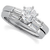 14KTW 3/4CTW ENGAGEMENT RING & MATCHING  WEDDING RING 1/3CTW