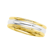 14KT TWO-TONE DUO COMFORT-FIT WEDDING BAND 6MM