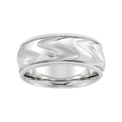 14KT WHITE GOLD MEN'S DUO COMFORT-FIT WEDDING BAND 8MM