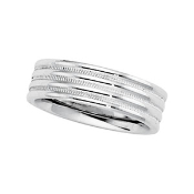 14KT WHITE GOLD MEN'S DUO COMFORT-FIT WEDDING BAND 6MM