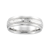 14KT WHITE GOLD MEN'S ETCHED COMFORT FIT WEDDING BAND 6MM