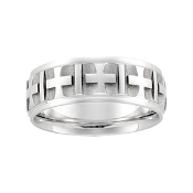 14KT WHITE GOLD MEN S  CROSS DESIGN  COMFORT FIT WEDDING  WEDDING BAND  WEDDING RINGS  MENS WEDDING BANDS. Mens Cross Wedding Band. Home Design Ideas