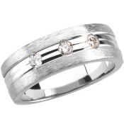 14KT WHITE GOLD 1/3CTW ROUND DIAMOND MENS WEDDING BAND 8MM