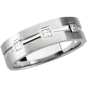 14KT WHITE GOLD MEN'S PRINCESS CUT DIAMOND WEDDING BAND 1/5CTW