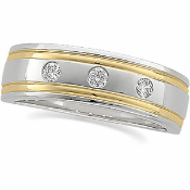 14KT TWO TONE 1/6CTW MEN'S DIAMOND WEDDING BAND