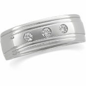 14KT WHITE GOLD 1/8CTW MEN'S DIAMOND WEDDING BAND