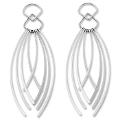 Sterling Silver Curved Fringe Drop Earrings
