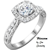 14KT White Gold 1/2CT Genuine Diamond Engagement Ring