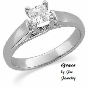"14KT Princess Cut Genuine Diamond Engagement Ring ""Grace"""