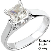 "14KW 3/4CT Princess Cut Diamond Engagment Ring ""VICTORIA"""