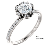 "14KW 1/2ct Genuine Round Diamond ""Rose"" Engagement Ring"