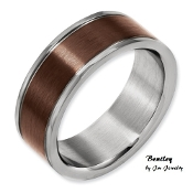 """Bentley"" Titanium Grooved Edge 8mm Chocolate Mens Wedding Band"