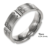 """Tyson"" Titanium 6mm Brushed and Polished Mens Band"