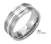 """Alex"" Titanium Grooved Sterling Silver Inlay 8mm Brushed Band"