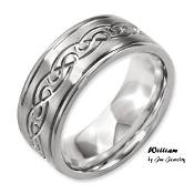 """William"" Titanium 9mm Scroll Design Brushed and Polished Band"