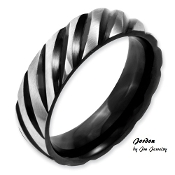 """Jordon"" Stainless Steel 6mm Black IP-plated Swirl Band"