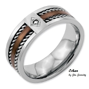 """Ethan"" Stainless Steel Chocolate IP-plated w/Diamond 8mm Band"