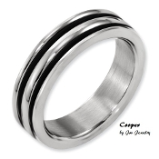 """Cooper"" Titanium 6mm Grooved Black Rubber Polished Band"
