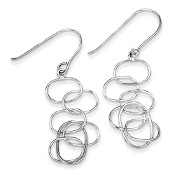 Sterling Silver Knot Linked Ovals Dangle Earrings